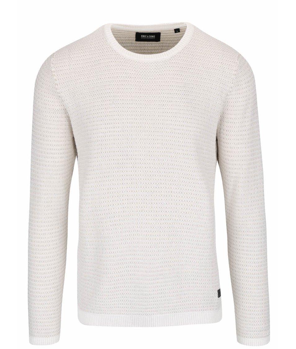Krémový žíhaný lehký svetr ONLY & SONS Dawson
