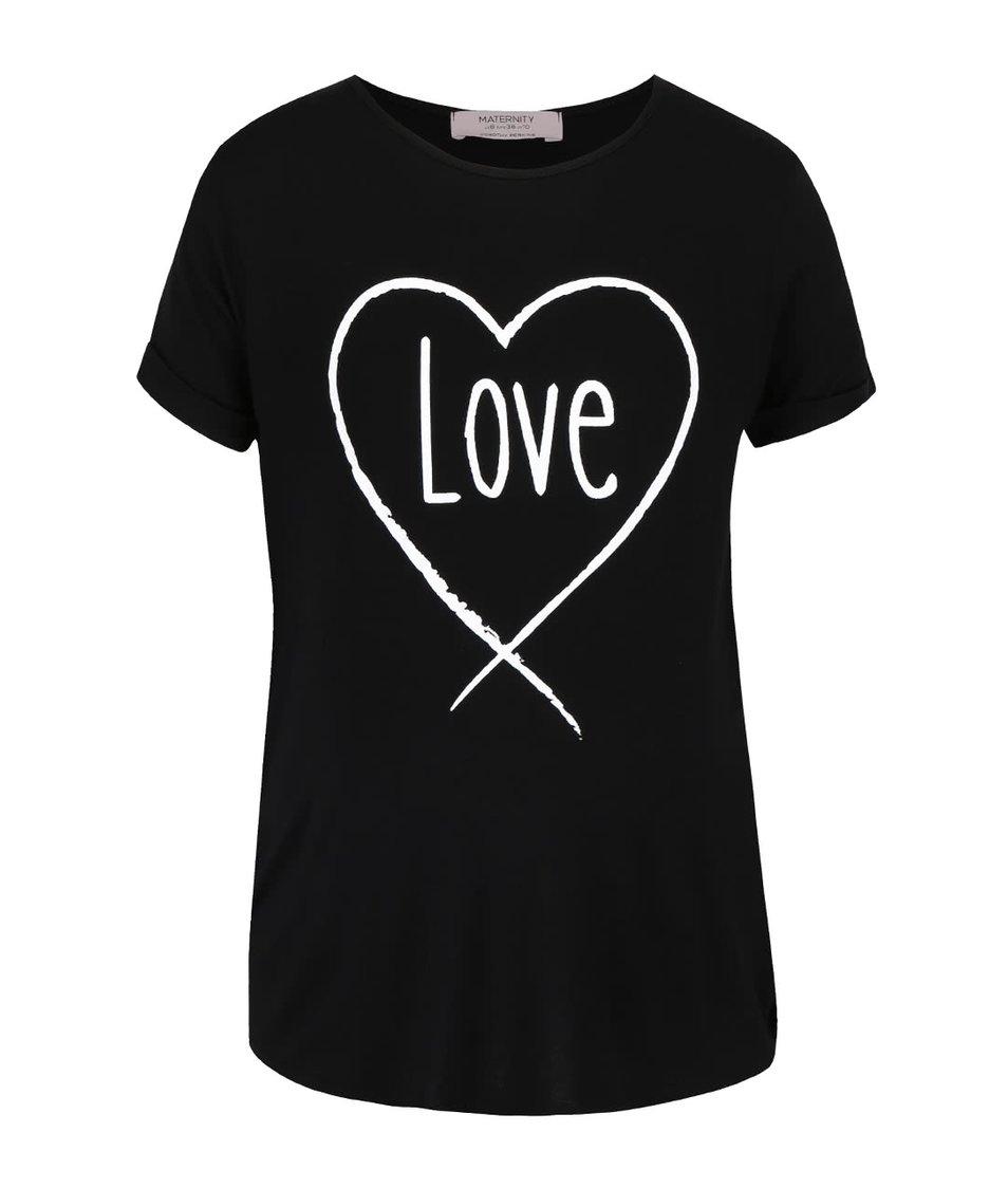 Černé těhotenské tričko s potiskem Dorothy Perkins Maternity