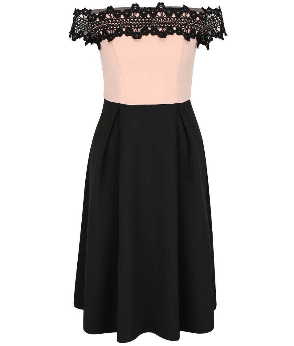 Růžovo-černé šaty s krajkou Dorothy Perkins