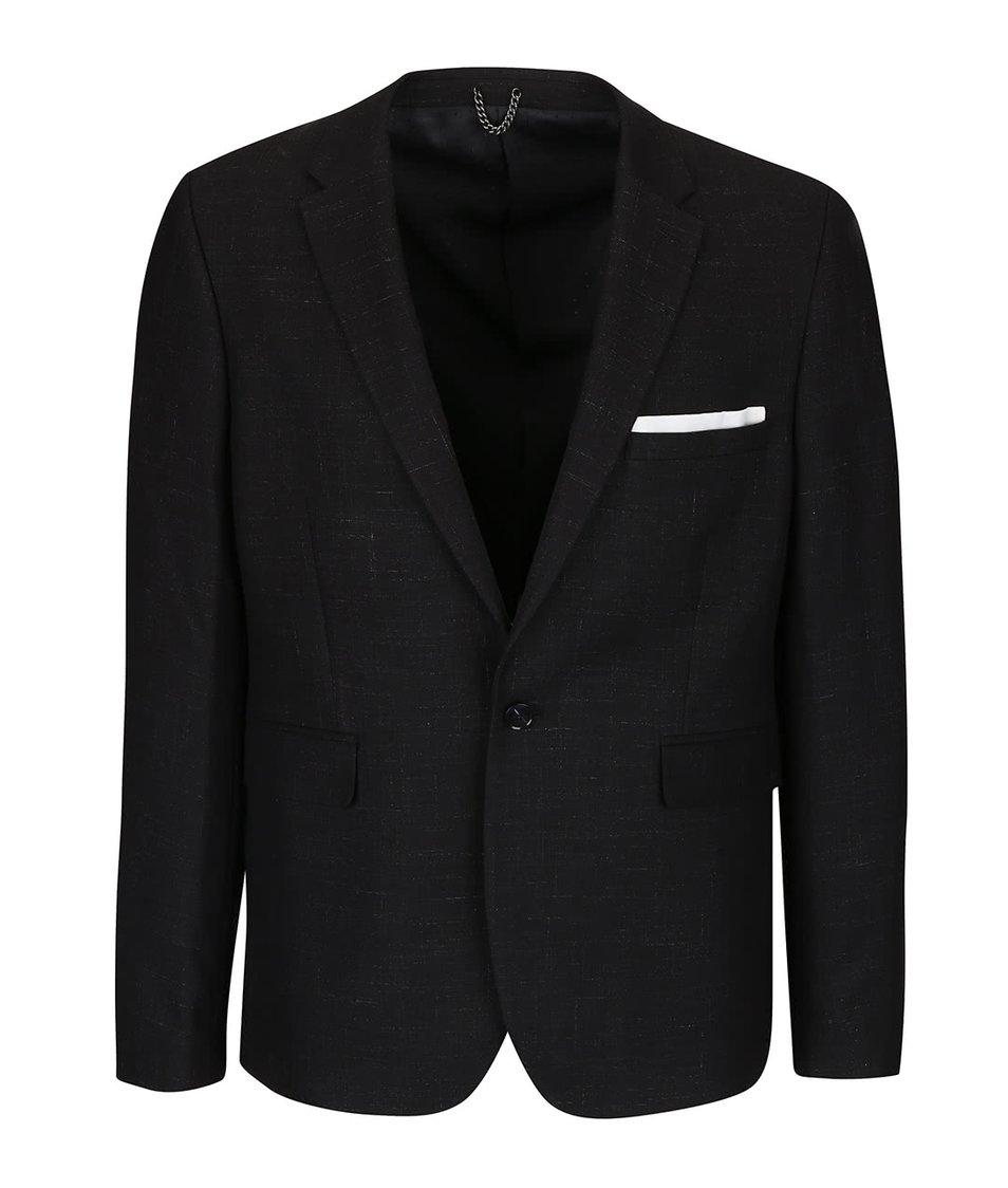 Černé žíhané skinny fit sako Burton Menswear London