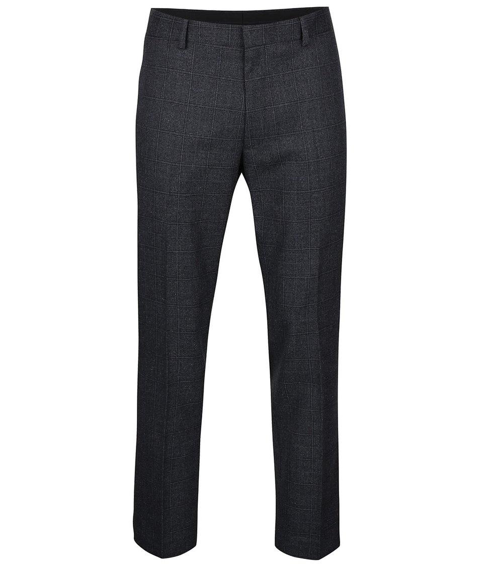 Tmavě šedé kostkované kalhoty Burton Menswear London