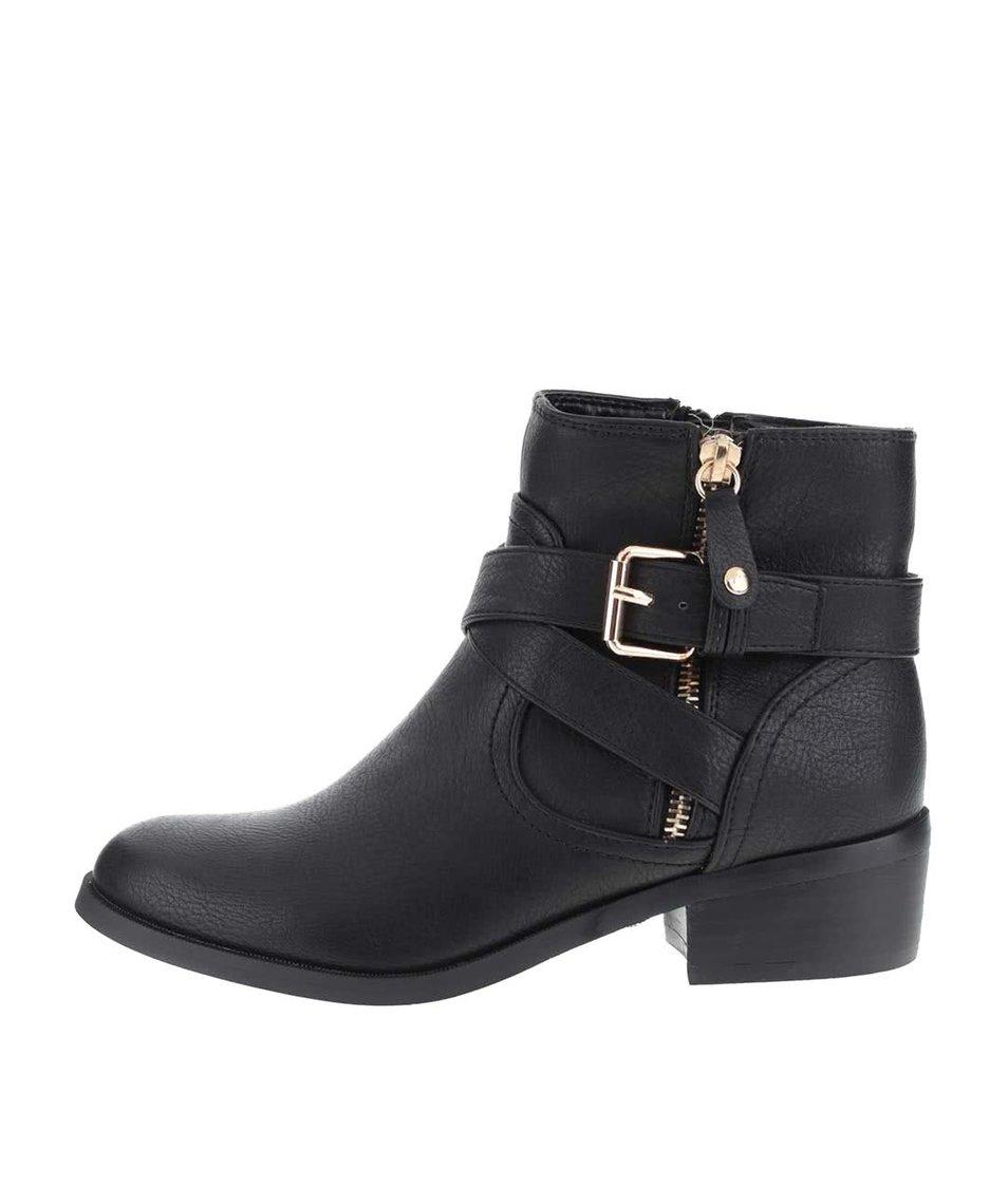 Černé kotníkové boty s pásky přes nárt Dorothy Perkins