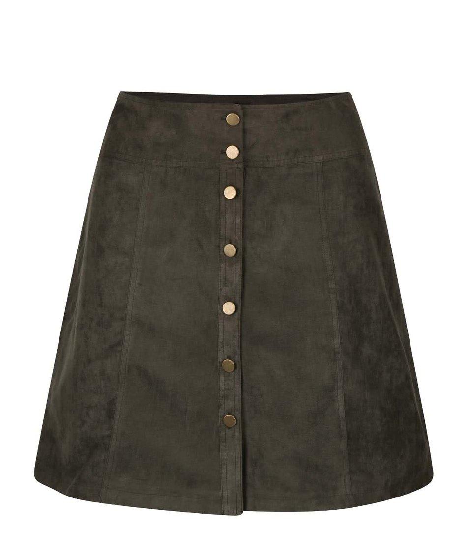 Khaki sukně na knoflíky Dorothy Perkins Curve