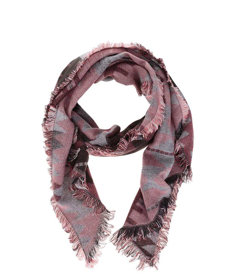 Růžovo-hnědá dlouhá vzorovaná šála Pieces Patience