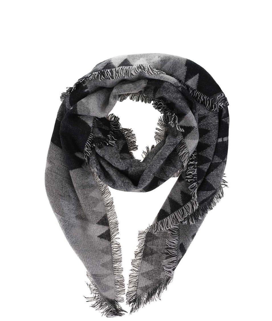 Šedo-černá dlouhá vzorovaná šála Pieces Patience