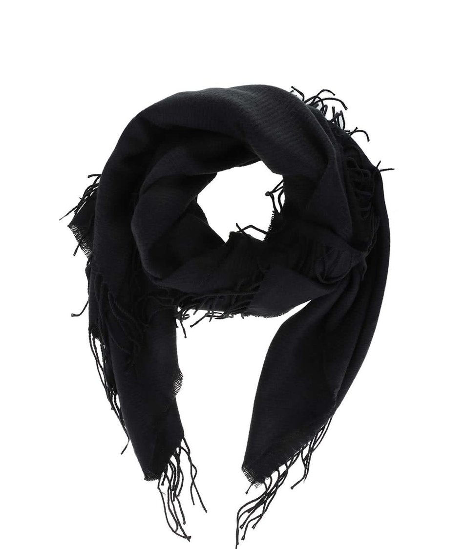 Černá šála s třásněmi Pieces Kial