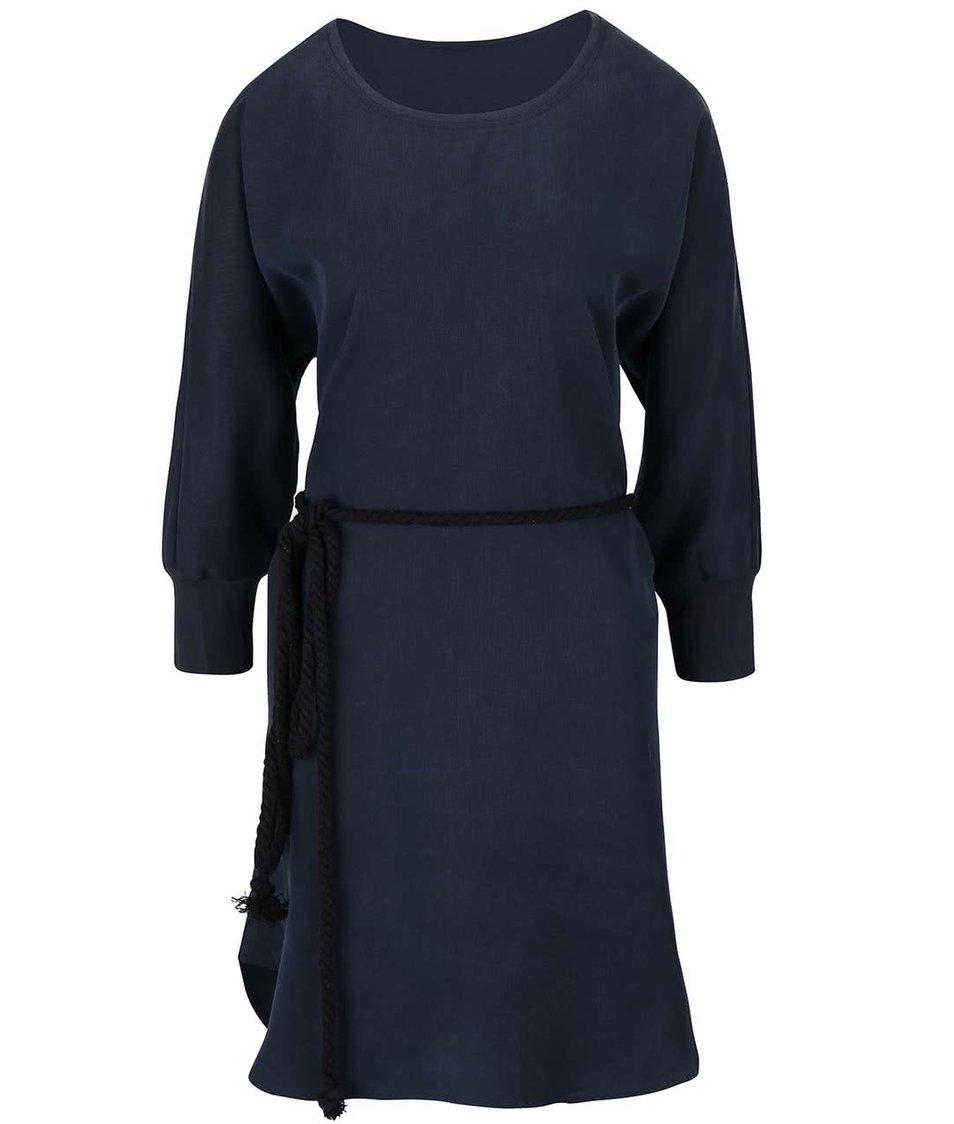 Tmavě modré šaty s kimonovými rukávy YAYA