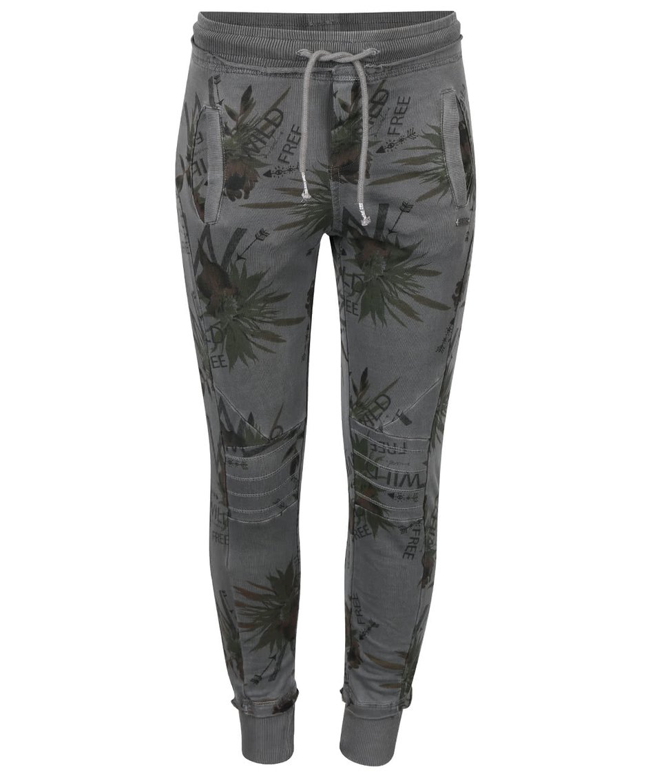 Tmavě šedé holčičí tepláky se vzorem Cars Jeans Imka