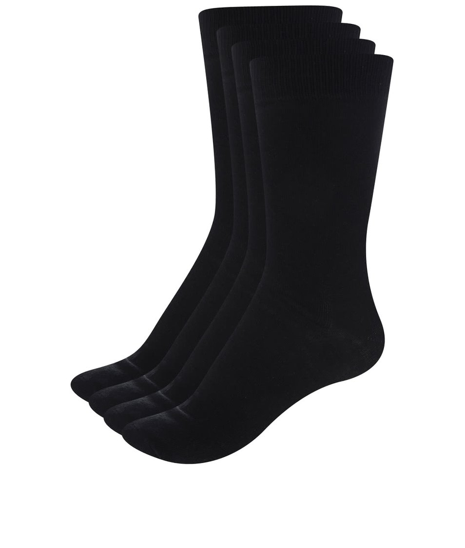 Sada čtyř párů černých ponožek ONLY & SONS Niko