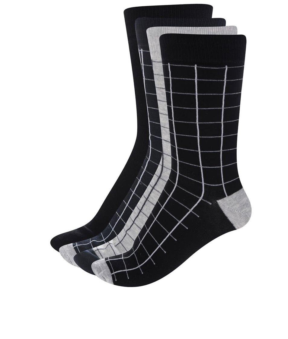 Sada čtyř párů ponožek v černé, šedé a modré barvě ONLY & SONS Niels
