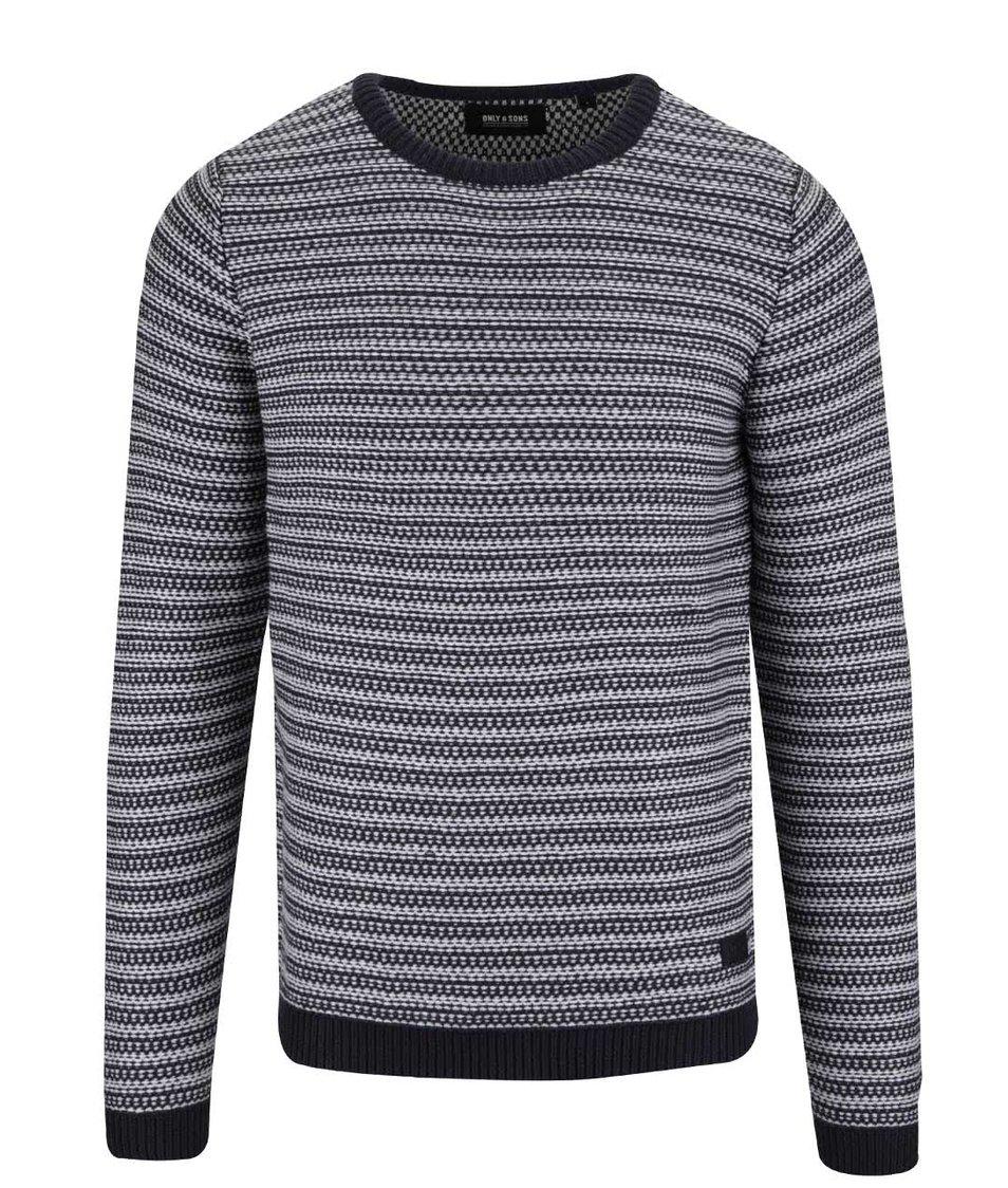 Krémovo-šedý pruhovaný svetr ONLY & SONS Damien