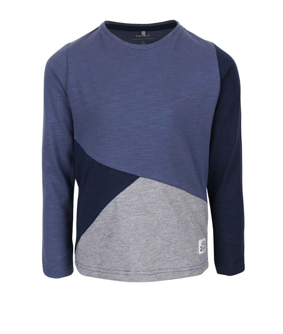 Šedo-modré klučičí triko s dlouhým rukávem name it Loels
