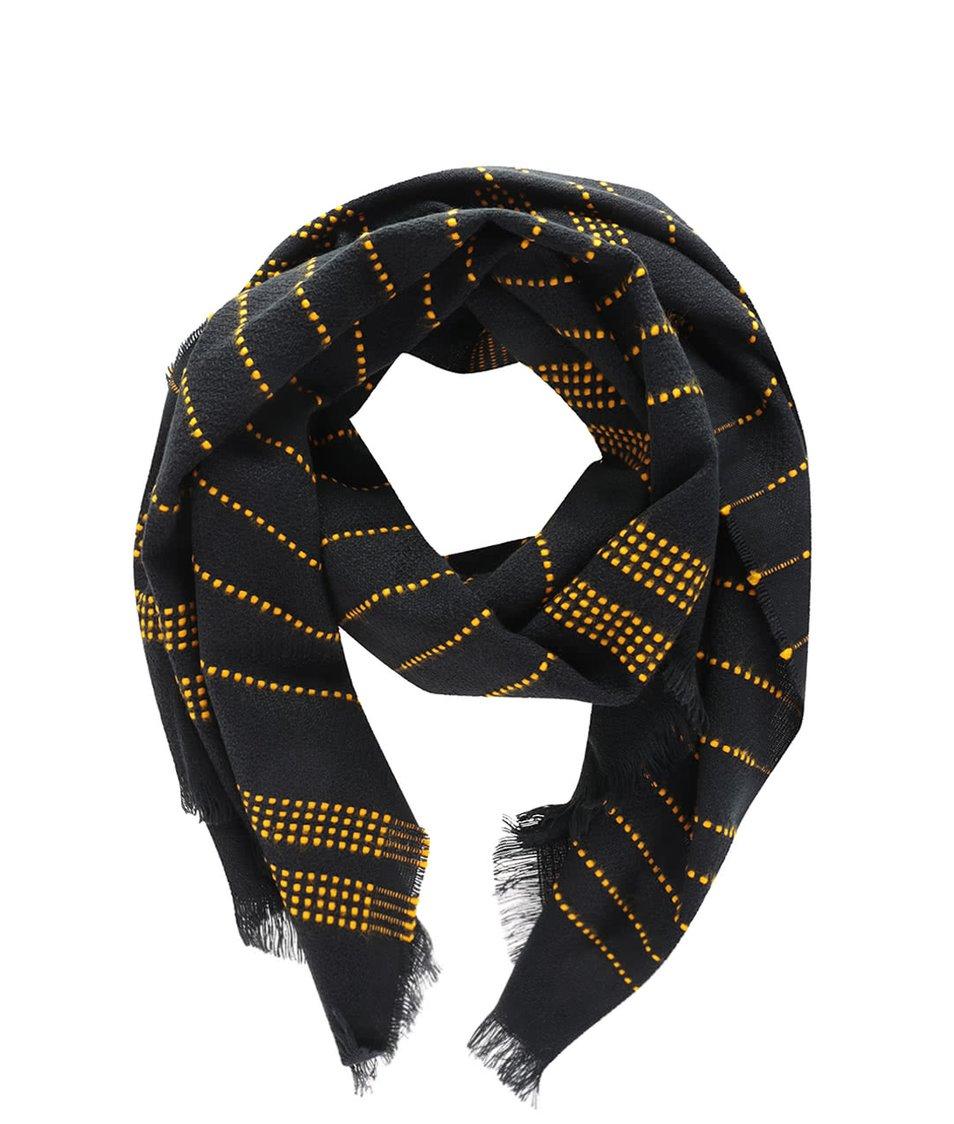 Černá lehká šála s přerušovanými žlutými pruhy Vero Moda Lisa