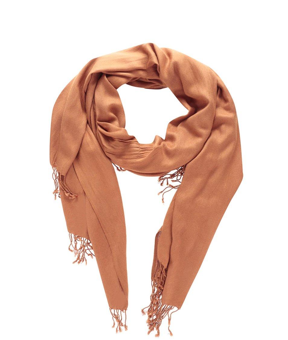 Světle hnědý šátek s třásněmi Vero Moda Sofia