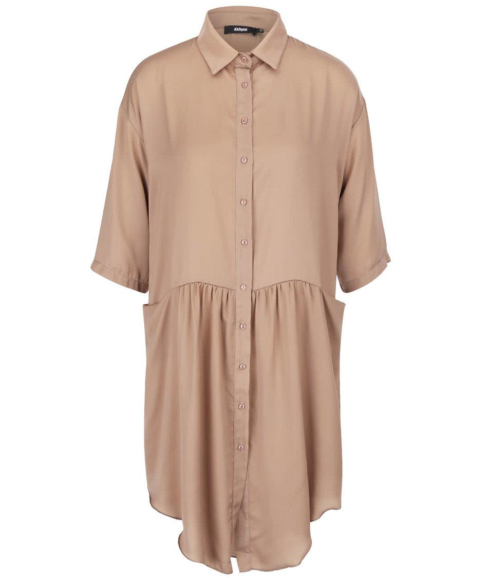 Béžové saténové košilové šaty s kapsami Alchymi Barbet