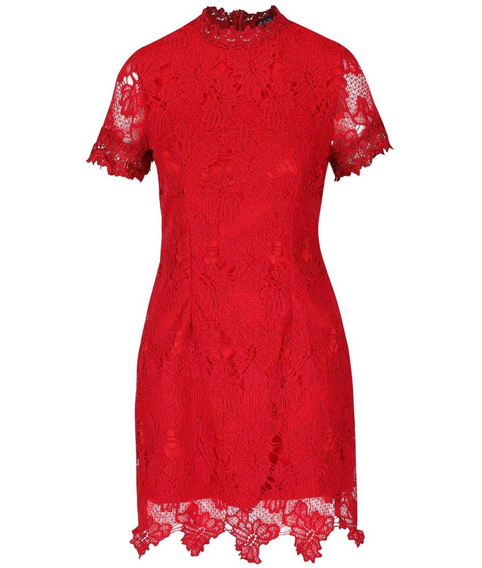 Červené krajkované šaty s krátkým rukávem AX Paris