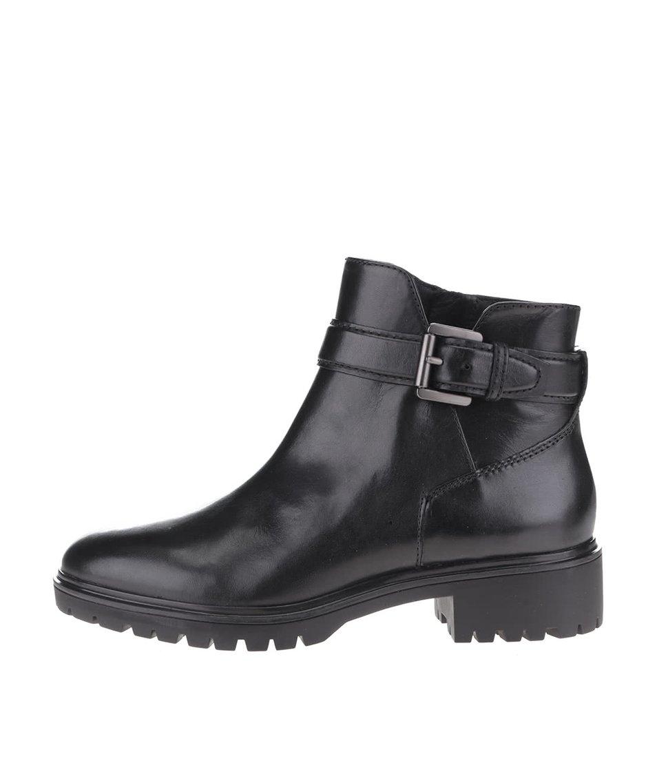 Černé dámské kožené kotníkové boty s přezkou Geox Peaceful