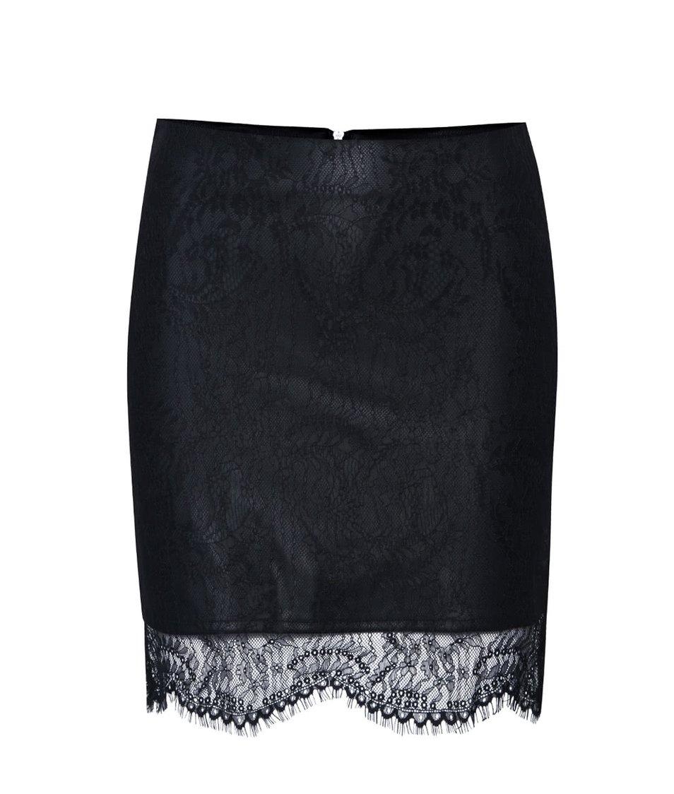 Černá koženková sukně s krajkou ONLY Sara