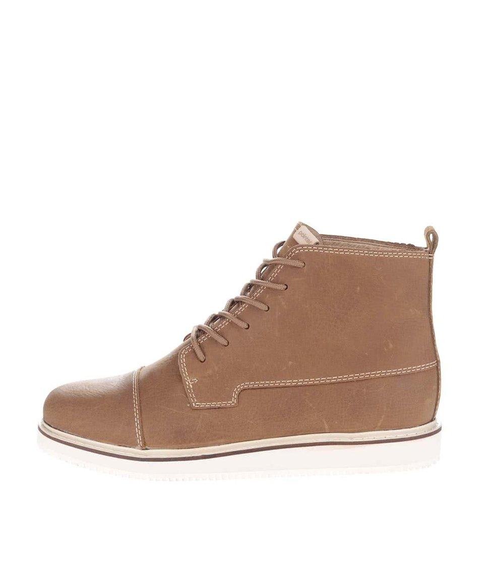 Hnědé pánské kožené kotníkové boty Pointer Willard