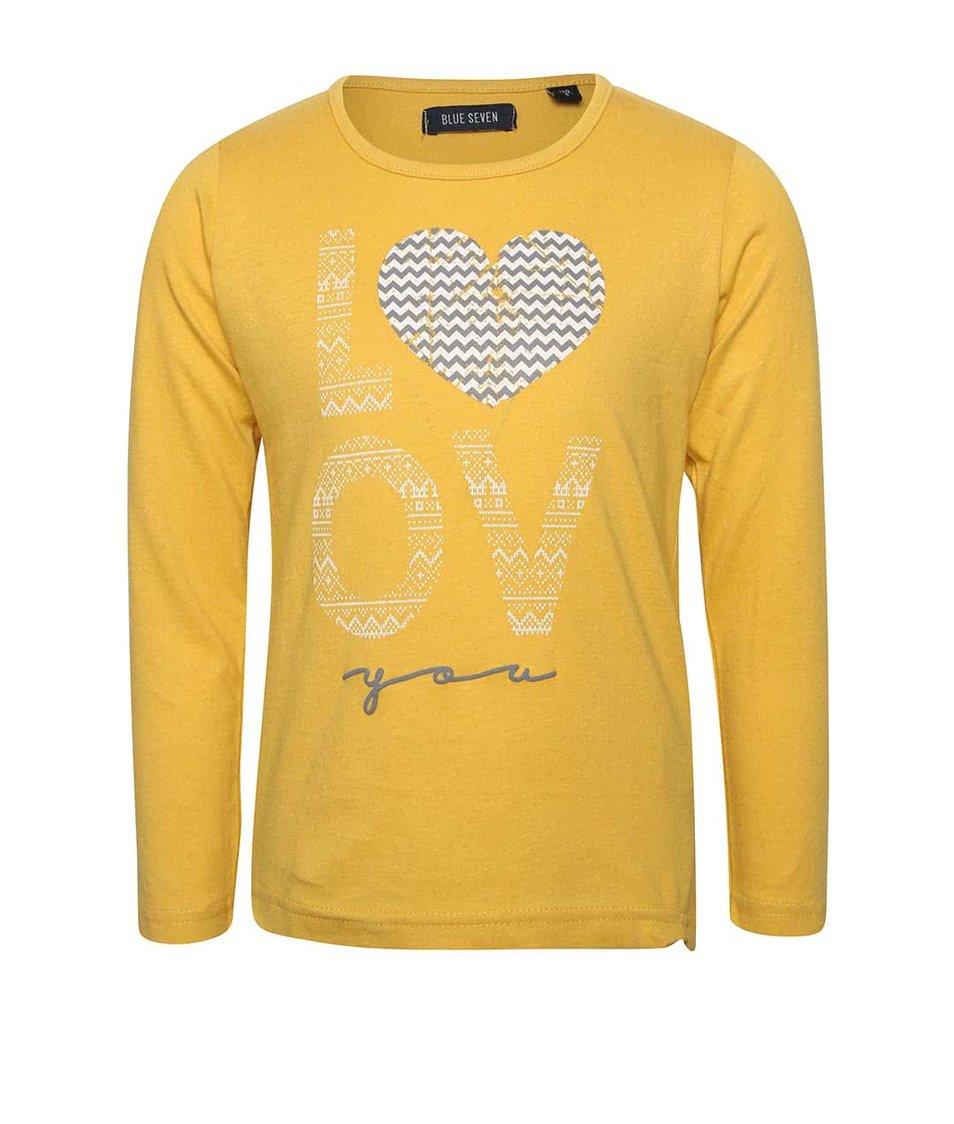 Žluté holčíčí tričko s dlouhým rukávem Blue Seven