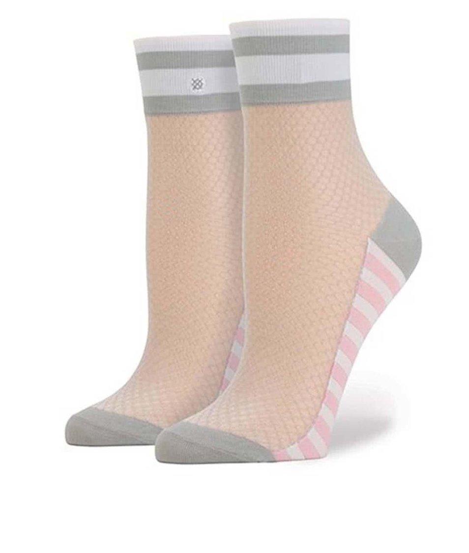 Růžovo-šedé dámské síťované ponožky Stance Jersey Mesh