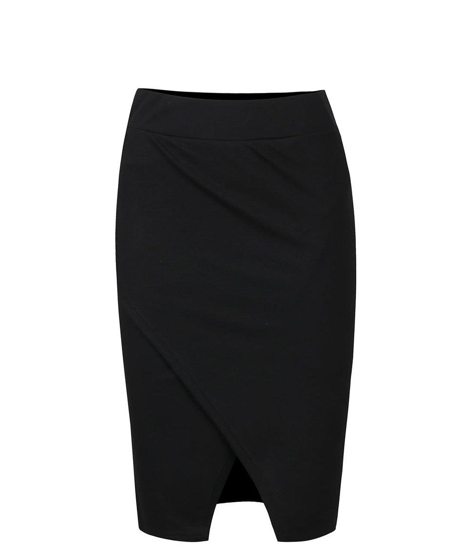 Černá překládaná midi sukně ICHI Mustang