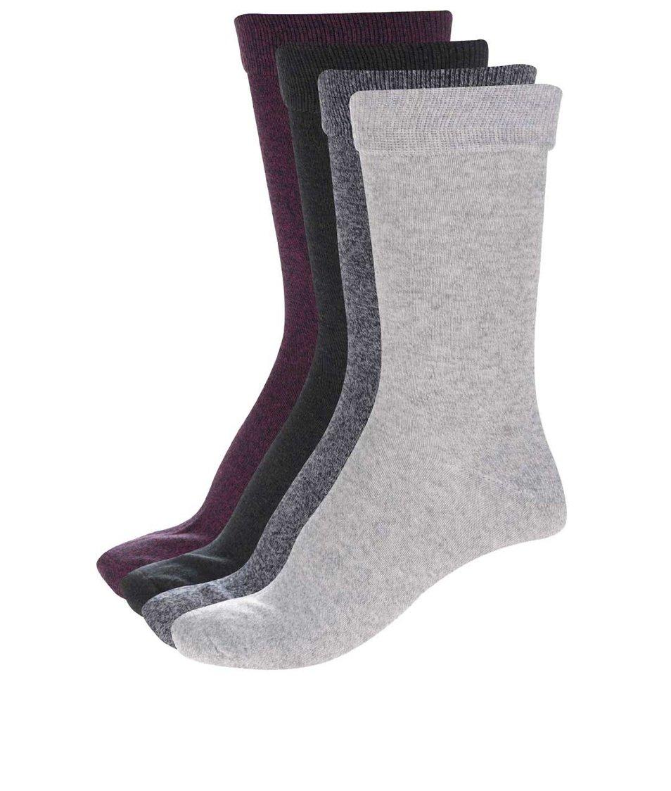 Sada čtyř šedých, vínových, zelených a modrých žíhaných ponožek Jack & Jones Plain