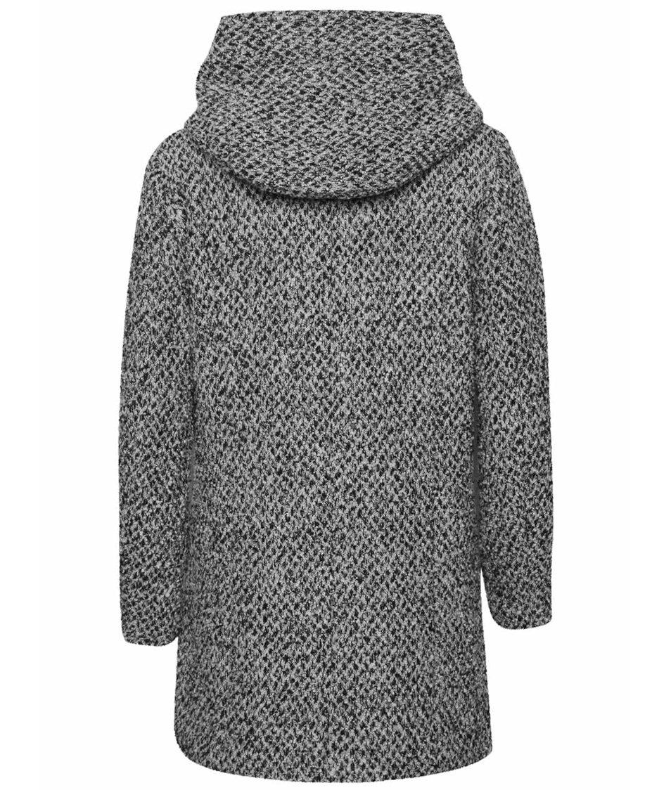 Šedočerný žíhaný kabát s kapucí ONLY New Indie