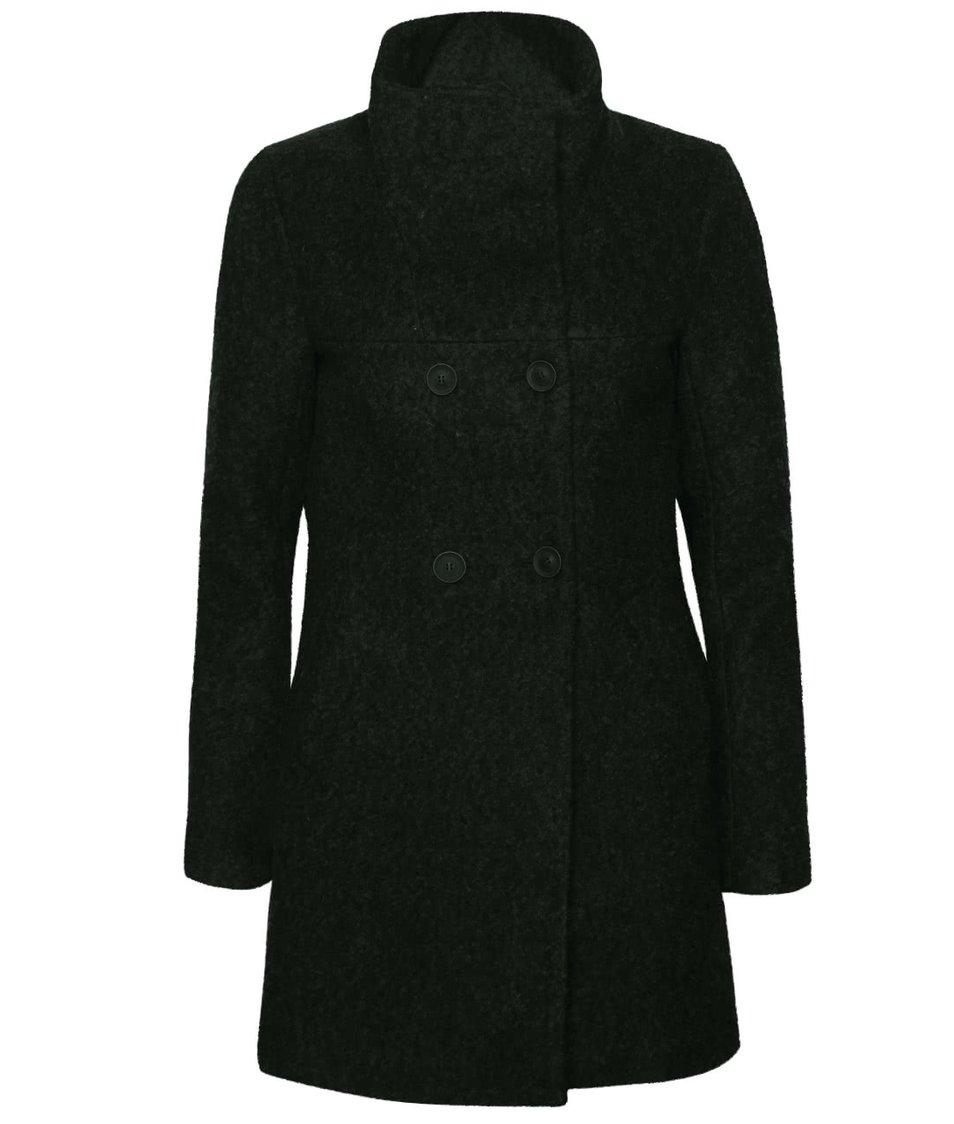 Černozelený žíhaný dvouřadý kabát s vysokým límcem ONLY New Sophia