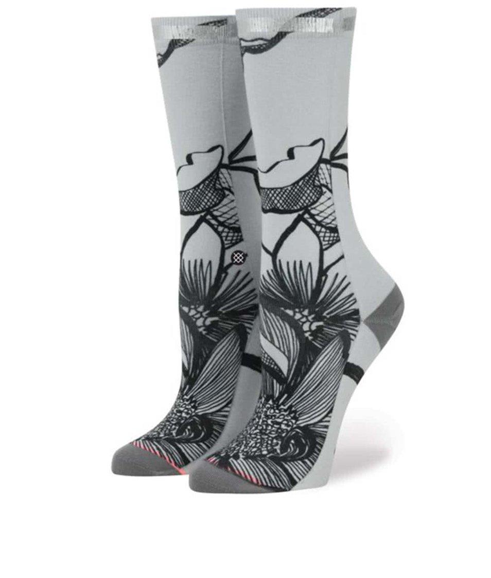 Šedé dámské  vzorované ponožky Stance Lined Leaves