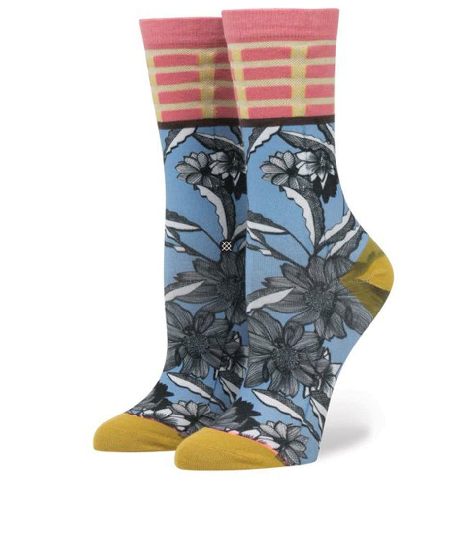 Modré dámské vzorované ponožky Stance Newspaper Flower