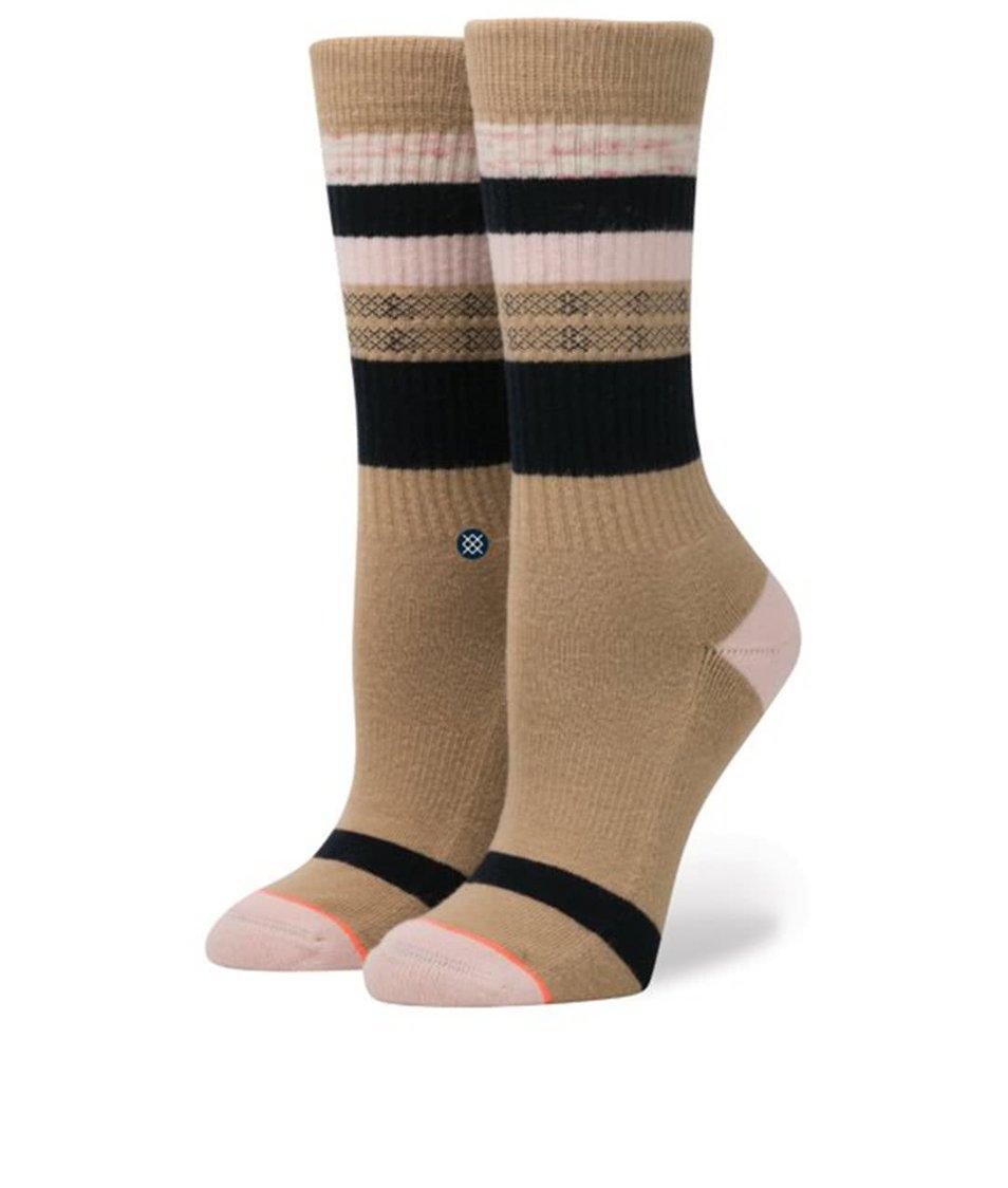 Světle hnědé dámské pruhované ponožky Stance Pintuck