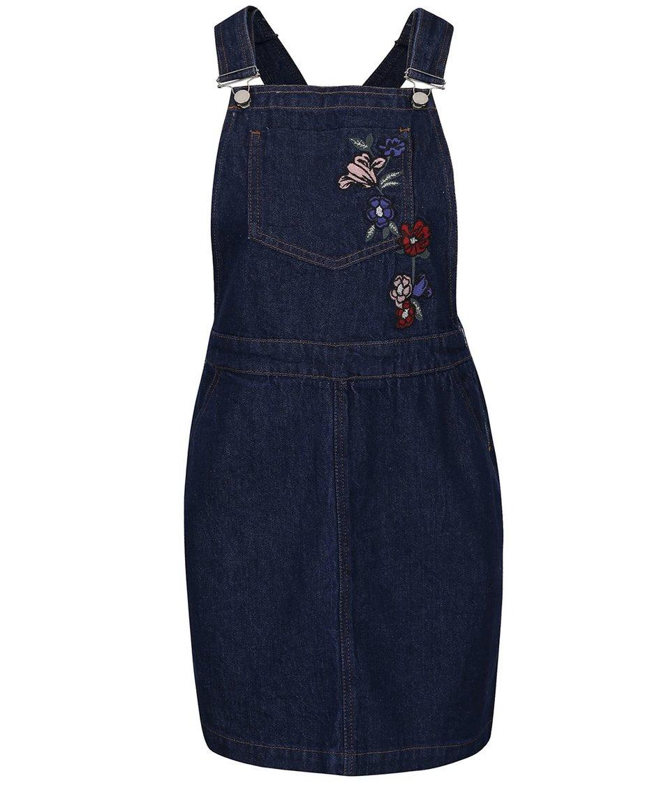 Tmavě modré džínové šaty s lacly a výšivkou Dorothy Perkins