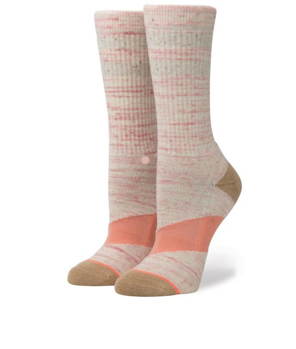 Růžové žíhané dámské ponožky Stance Stripe Crew