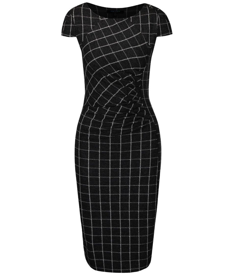 Černé kostkované šaty s řasením v pase Fever London Highlands
