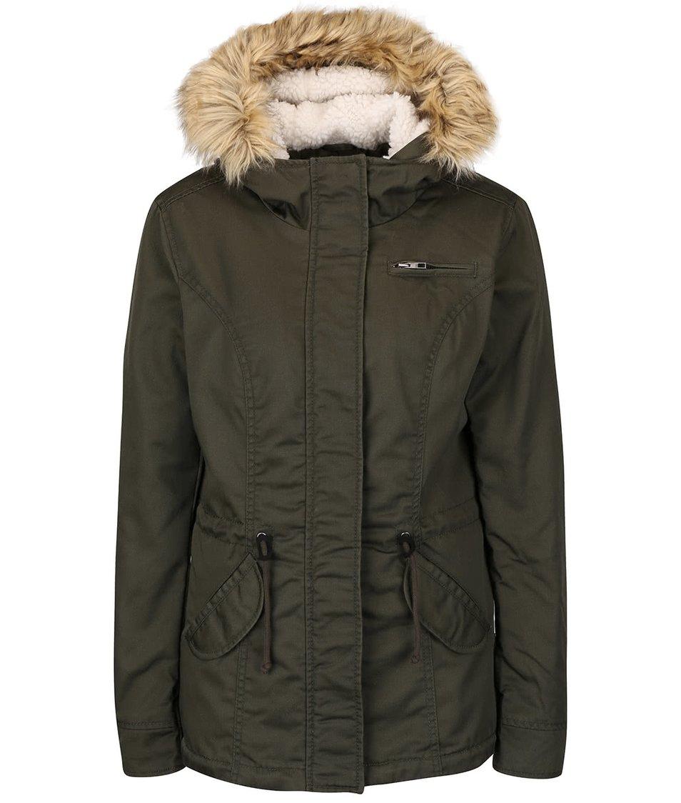 Khaki parka s kapucí a umělým kožíškem ONLY Lorca
