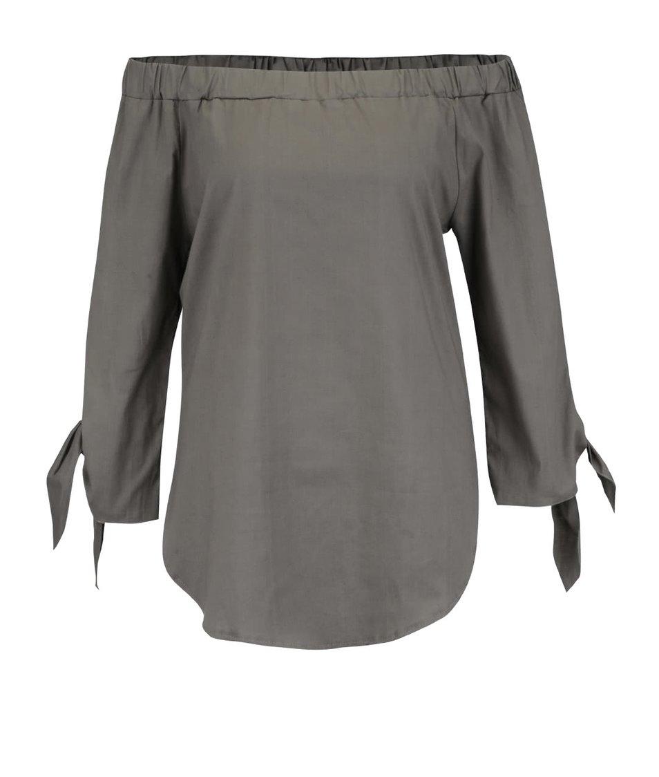 Khaki halenka s odhalenými rameny Apricot