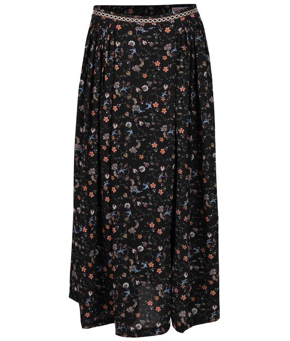 Černá midi sukně se vzorem Trollied Dolly Pleat Front Skirt