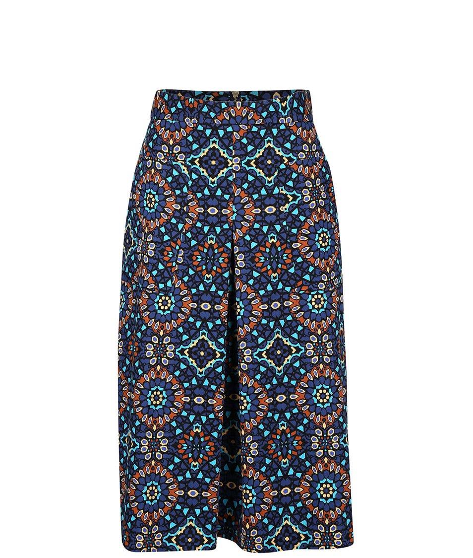 Hnědo-modrá vzorovaná midi sukně Closet