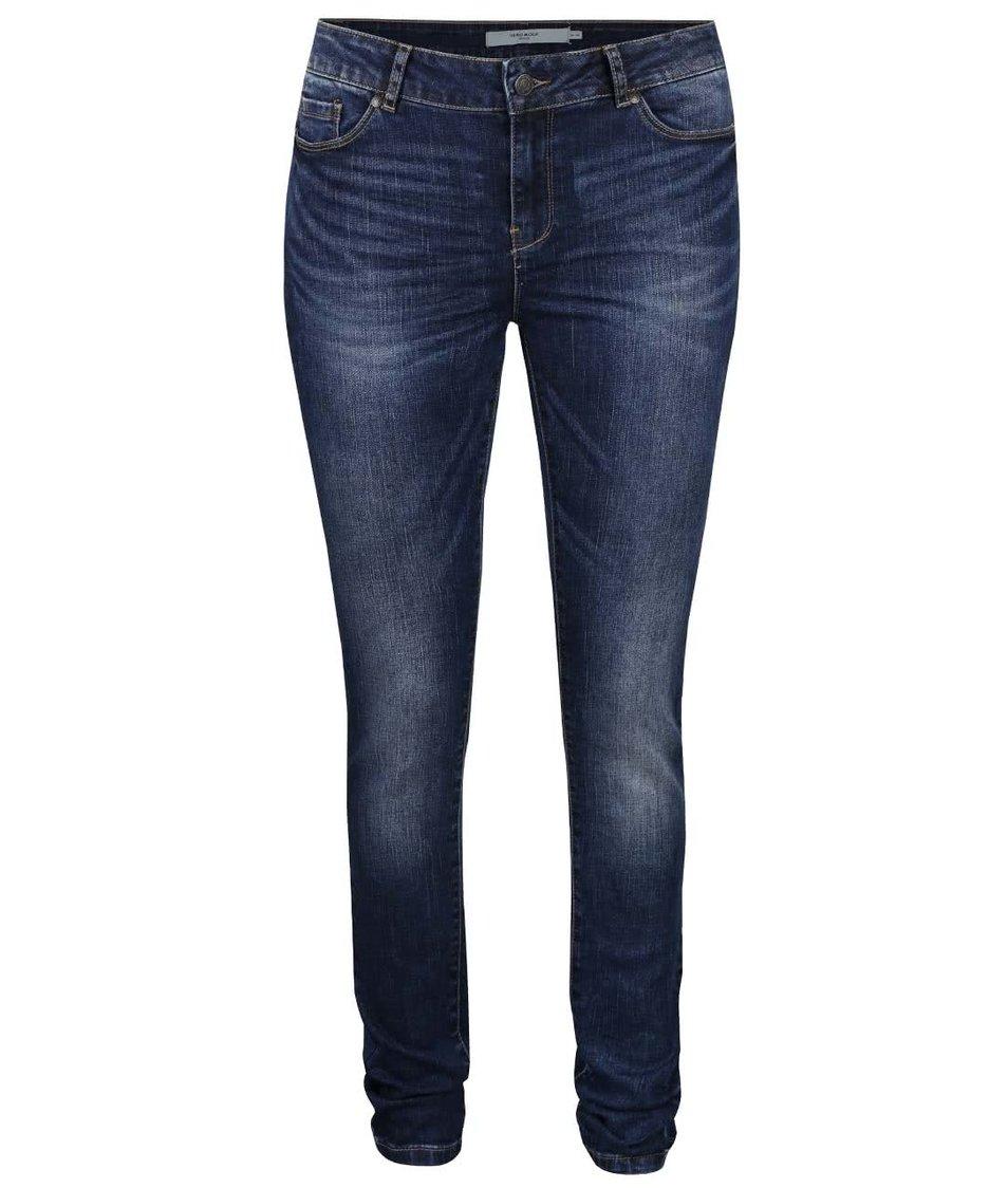Tmavě modré slim fit džíny s vyšisovaným efektem Vero Moda Seven