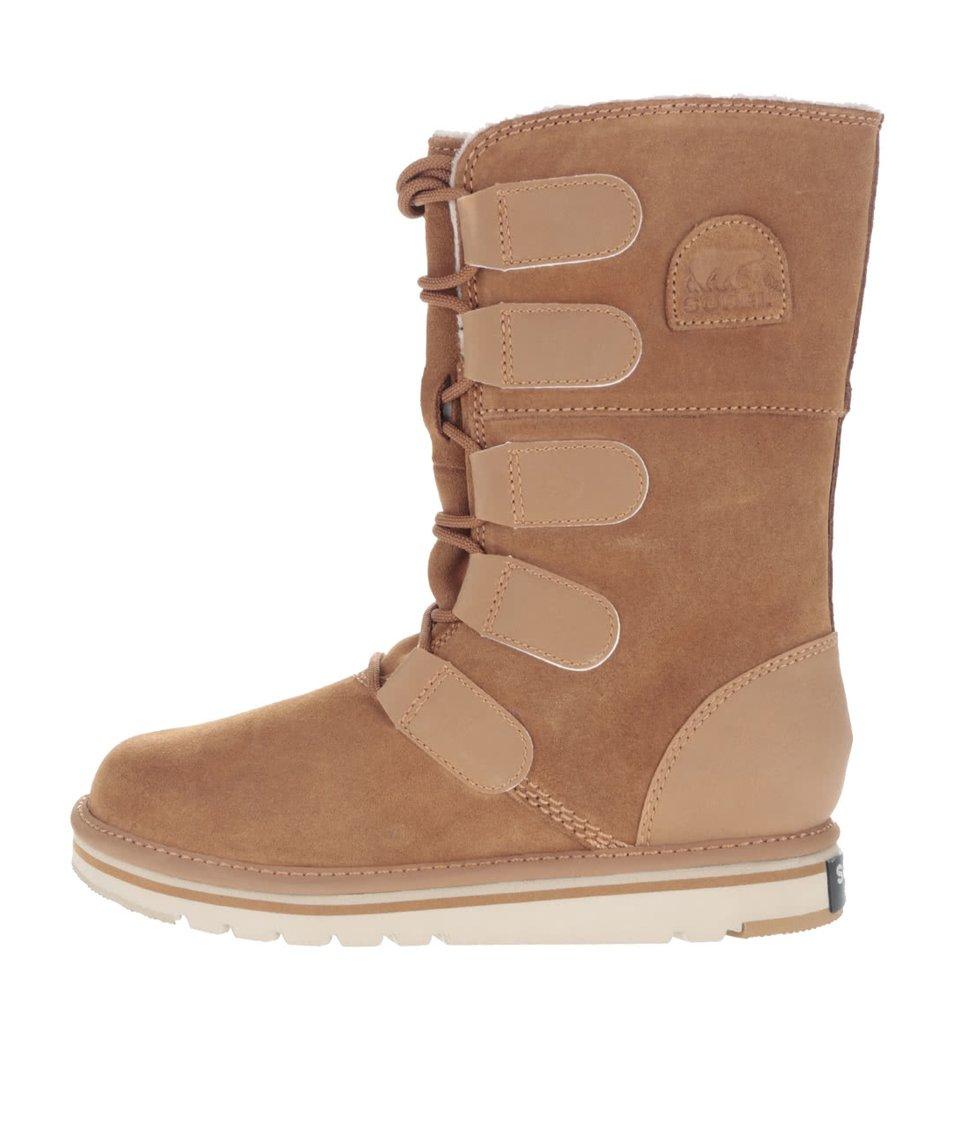 Hnědé kožené zimní boty s vázáním SOREL Newbie Lace