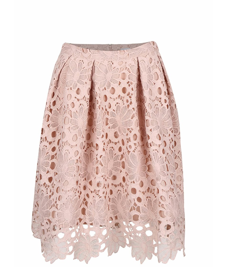 Starorůžová krajkovaná sukně VILA Rasma