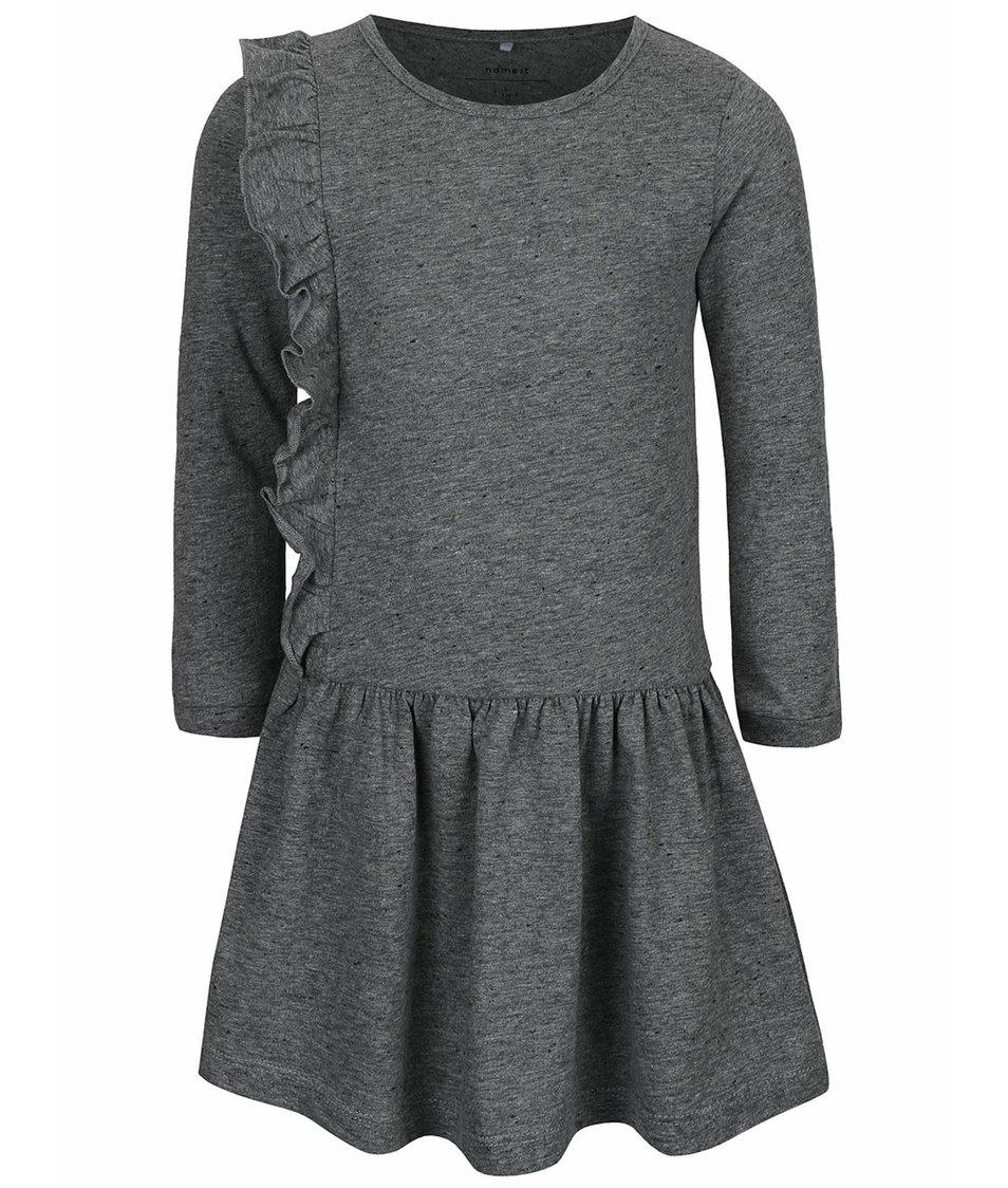 Tmavě šedé žíhané holčičí šaty name it Kathe