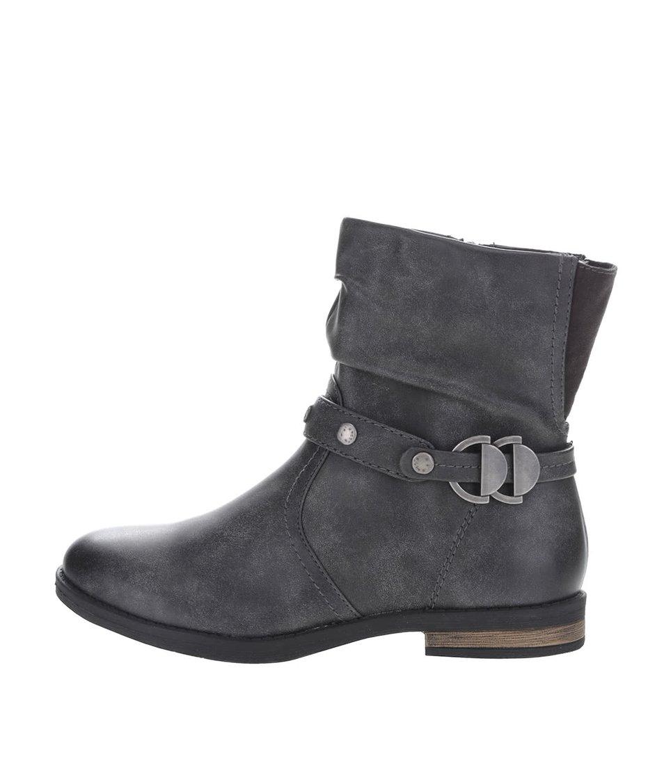 Šedé kotníkové boty s páskem Tamaris