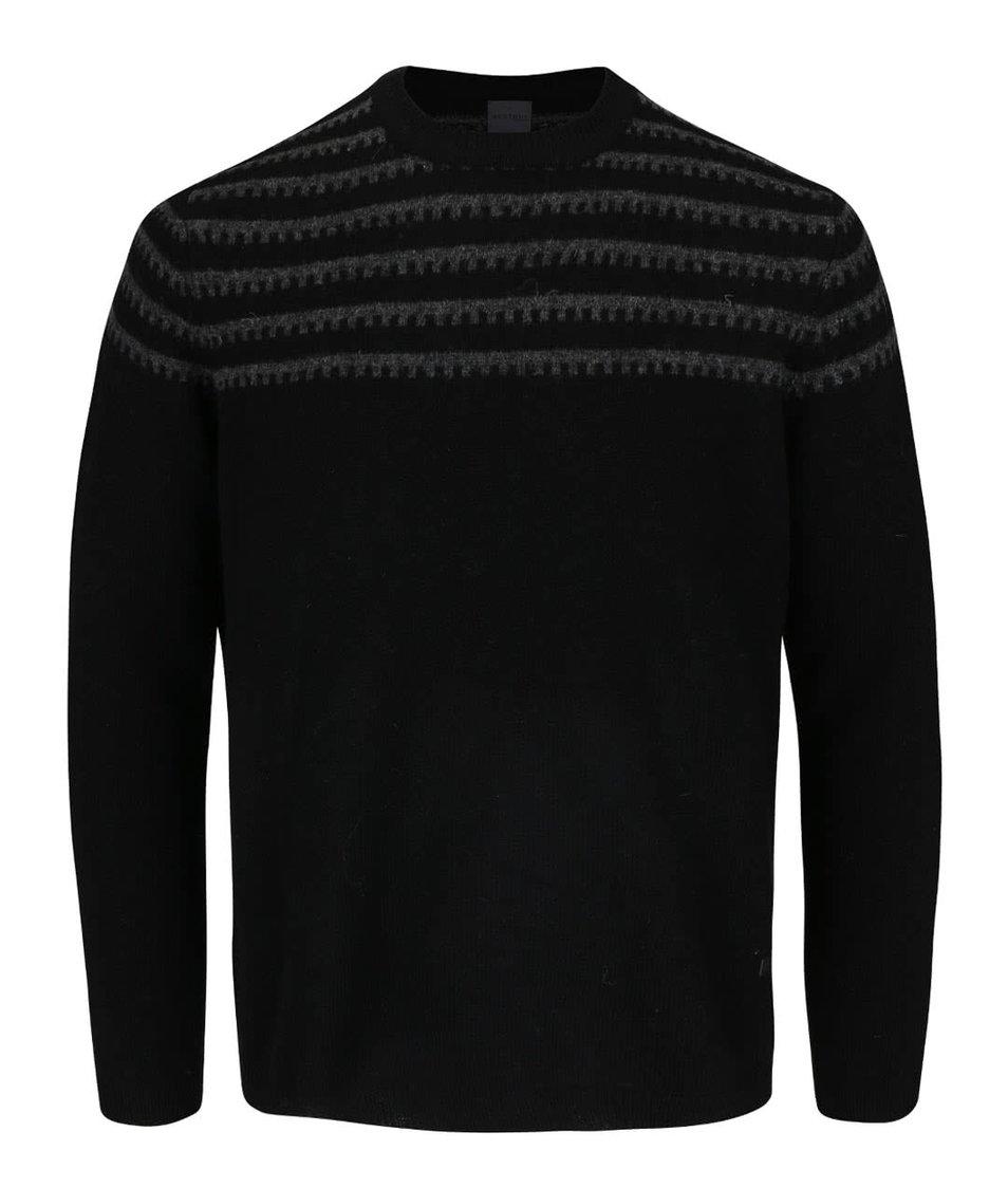Černý vlněný svetr s šedým vzorem Bertoni Steen