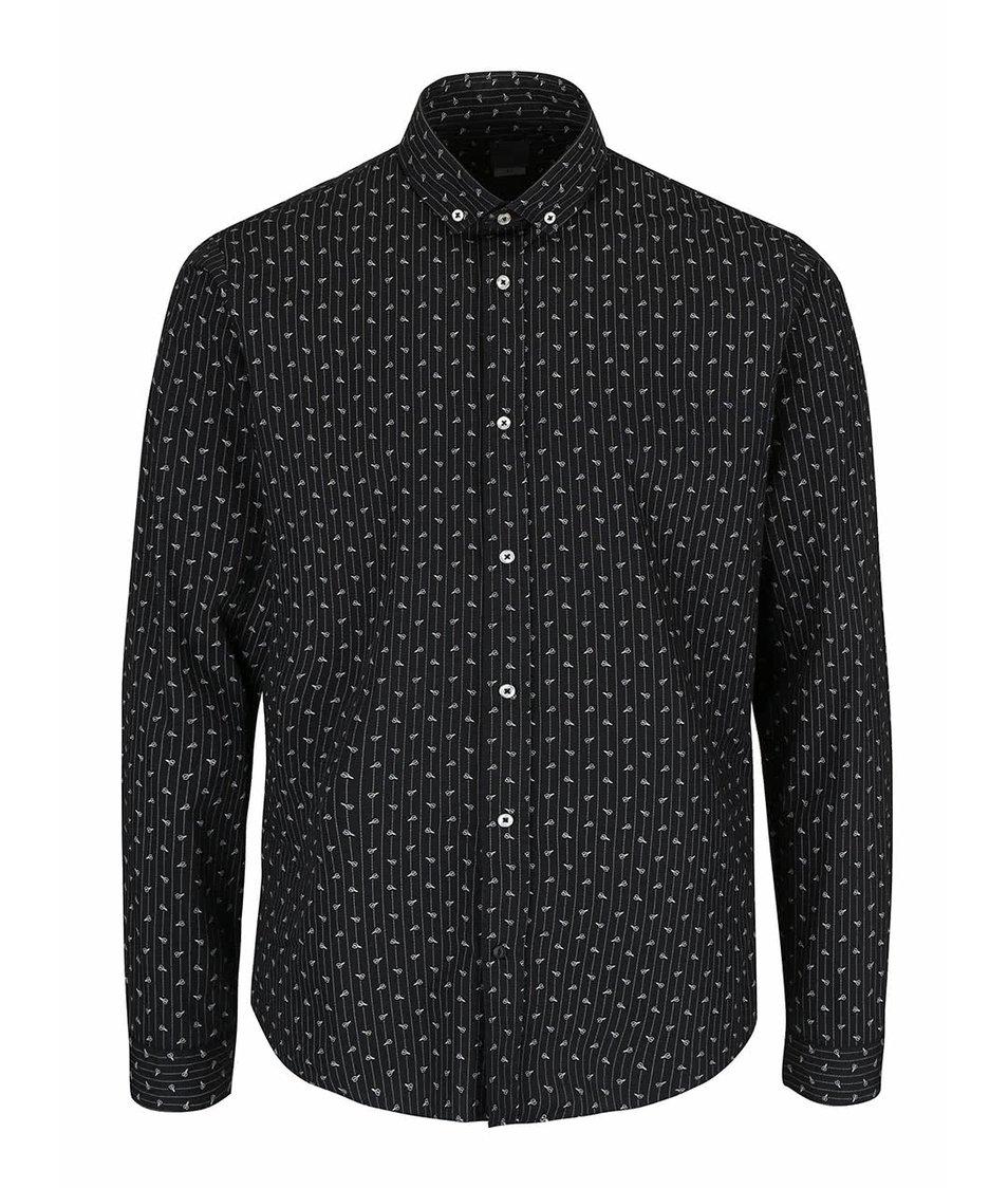 Černá košile se vzorem Bertoni Malte