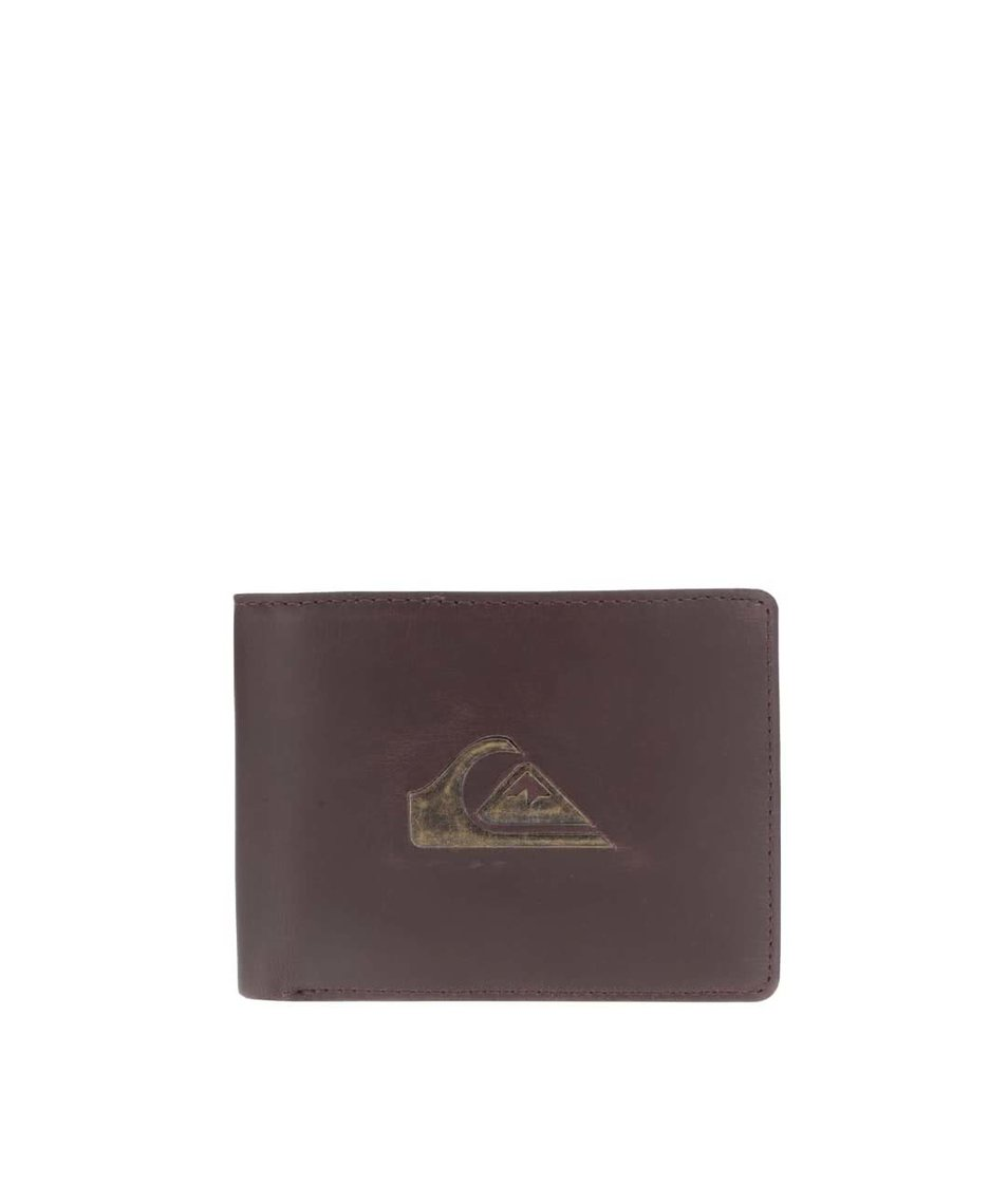 Tmavě hnědá pánská kožená peněženka s logem Quiksilver Miss Dollar