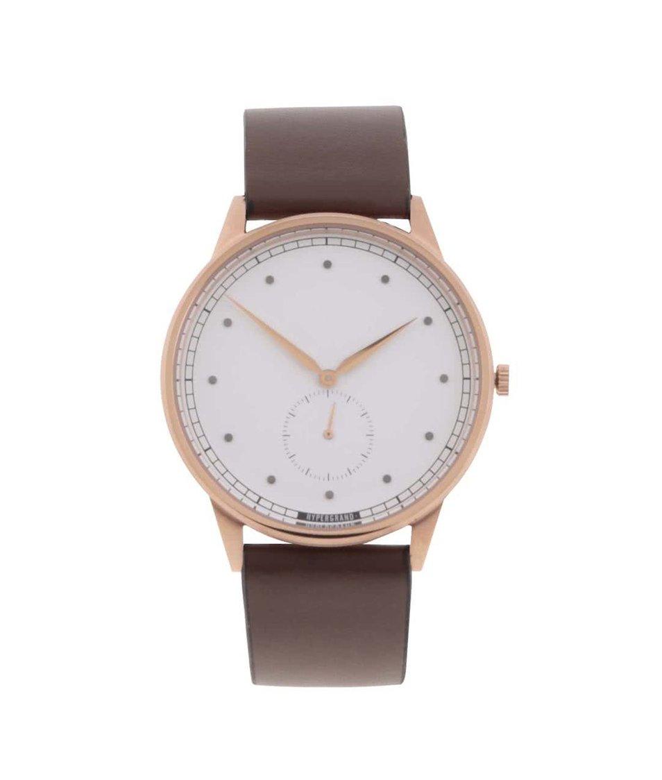 Hnědé pánské kožené hodinky HYPERGRAND