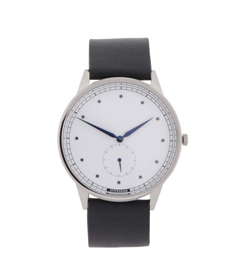 Černé pánské kožené hodinky  HYPERGRAND