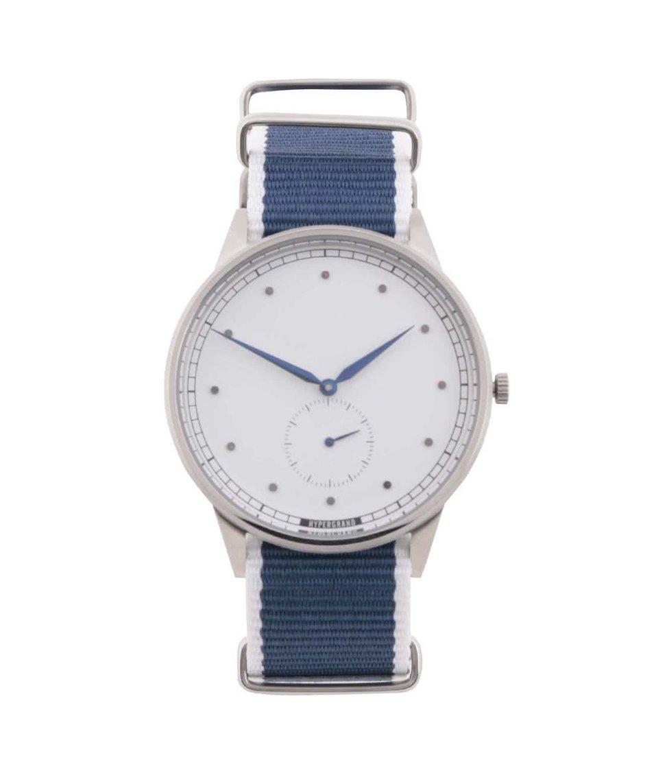 Modré pánské hodinky s ciferníkem ve stříbrné barvě HYPERGRAND